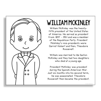 President William McKinley Coloring Page Craft or Poster with Mini Biography