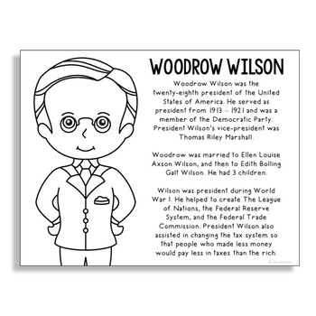 President Woodrow Wilson Coloring Page Craft or Poster with Mini Biography