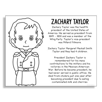 President Zachary Taylor Coloring Page Craft or Poster with Mini Biography