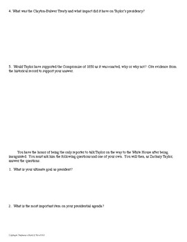 President Zachary Taylor Interview Review Activity