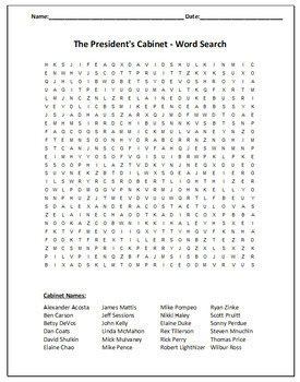 The President's Cabinet - Wordsearch