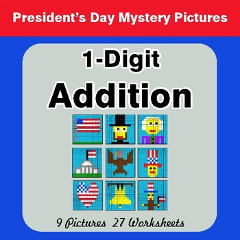 President's Day: 1-Digit Addition - Color-By-Number Mystery Pictures