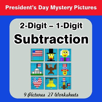 President's Day: 2-Digit - 1-Digit Subtraction Color-By-Number Math Mystery Pictures