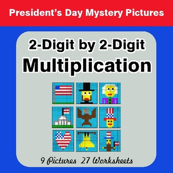 President's Day: 2-Digit Multiplication - Color-By-Number Mystery Pictures