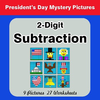 President's Day: 2-Digit Subtraction - Color-By-Number Math Mystery Pictures