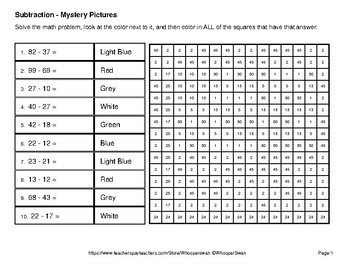 President's Day: 2-Digit Subtraction - Color-By-Number Mystery Pictures