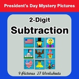 President's Day: 2-Digit Subtraction - Color-By-Number Mys