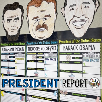 President's Day Presidential Biography Research Pennants