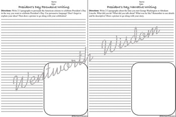 President's Day Reading Comprehension & Writing Activities No Prep Worksheets
