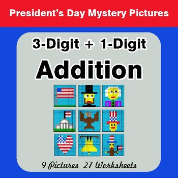 President's Day: 3-Digit + 1-Digit Addition - Color-By-Number Math Mystery Pictures