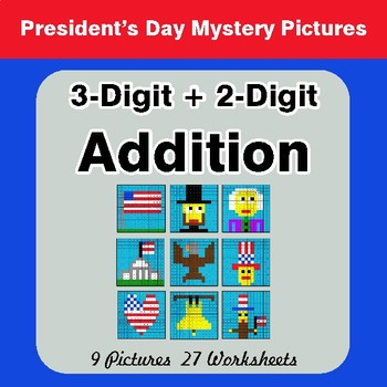 President's Day: 3-Digit + 2-Digit Addition - Color-By-Number Math Mystery Pictures