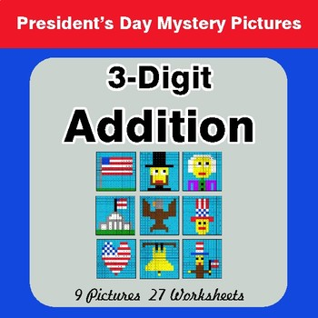 President's Day: 3-Digit Addition - Color-By-Number Mystery Pictures