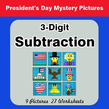President's Day: 3-Digit Subtraction - Color By Number Math Mystery Pictures