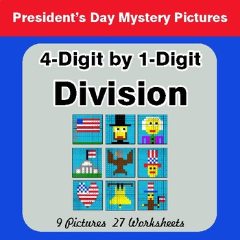 President's Day: 4-Digit by 1-Digit Division - Color-By-Number Mystery Pictures