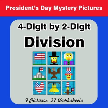 President's Day: 4-Digit by 2-Digit Division - Color-By-Number Mystery Pictures