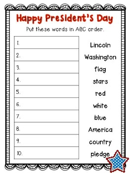 President's Day - ABC Order