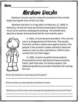 President's Day - Abraham Lincoln