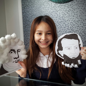 President's Day Abraham Lincoln and George Washington bust paper craftivity