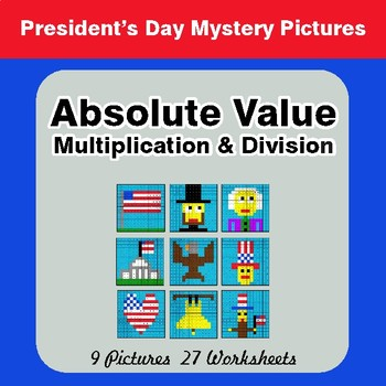 President's Day: Absolute Value - Multiplication & Division - Mystery Pictures