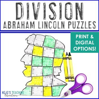 DIVISION President's Day Math Centers or Puzzles | Abraham Lincoln Activities