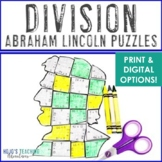 DIVISION President's Day Math Centers or Puzzles   Abraham