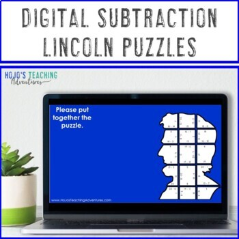 SUBTRACTION President's Day Math Centers or Puzzles | Abraham Lincoln Activities