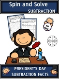 President's Day Activities Subtraction Spin and Solve Math Centers