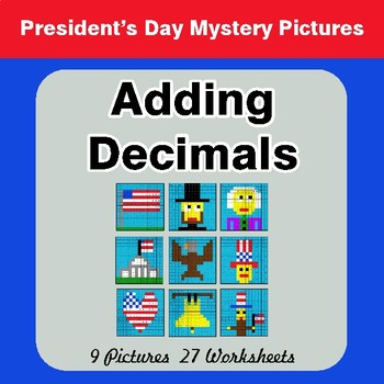 President's Day: Adding Decimals - Color-By-Number Math Mystery Pictures