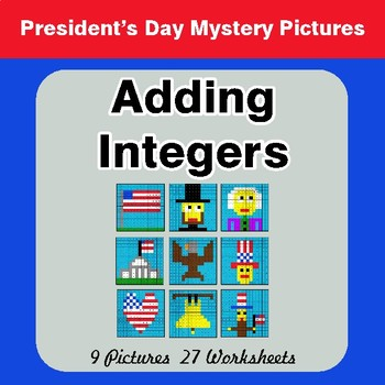 President's Day: Adding Integers - Color-By-Number Math Mystery Pictures