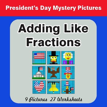 President's Day: Adding Like Fractions - Color By Number Math Mystery Pictures