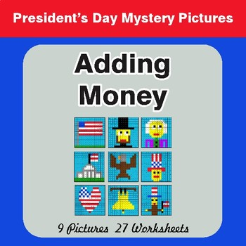 President's Day: Adding Money - Color-By-Number Math Mystery Pictures