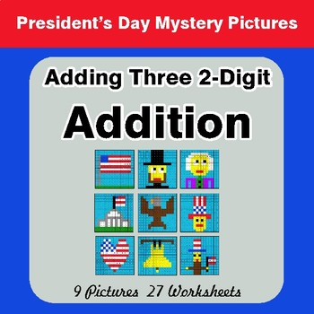 President's Day: Adding Three 2-Digit Addition - Mystery Pictures