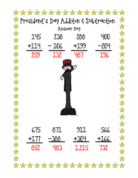 President's Day Addition and Subtraction Freebie!
