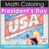 President's Day Algebraic Expressions & Equations Coloring Pages