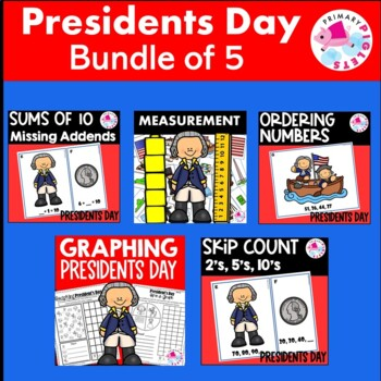 President's Day BUNDLE Addition, Graphing, Measurement, Skip Counting....