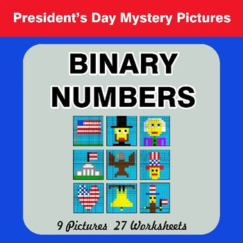 President's Day: Binary Numbers - Mystery Pictures / Color By Number