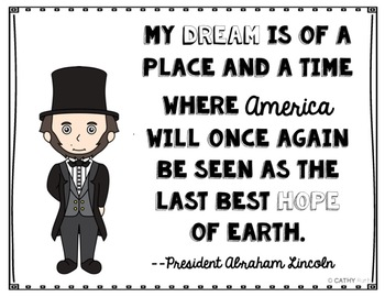 President's Day 7 Pack Biography Bundle, Mini Book Activities, 24 Quote Posters