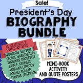 President's Day Biography Bundle, 7 Mini Book Activities, 24 Quote Posters