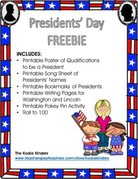 President's Day Bookmark FREEBIE
