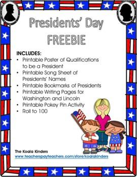 President's Day Bookmark FREEBIE