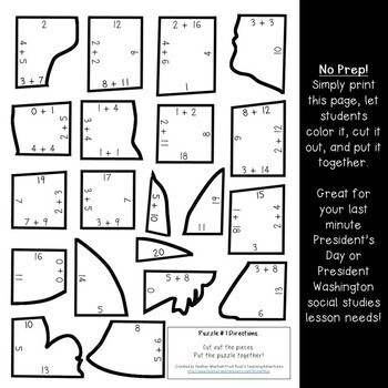 ADDITION President's Day Math Centers or Puzzles | George Washington Activities