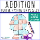 ADDITION President's Day Math Centers or Puzzles | Constitution Day Activities