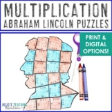 MULTIPLICATION President's Day Centers or Puzzles | Abraham Lincoln Activities