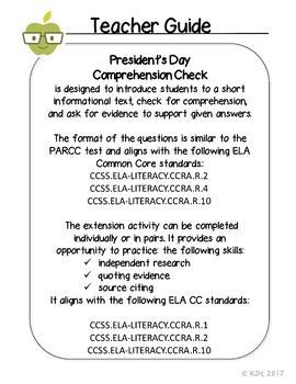 No Prep President's Day Comprehension Check
