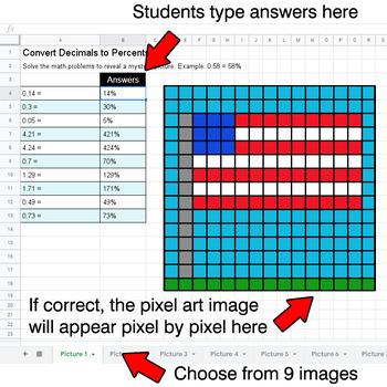 President's Day - Convert Decimals to Percents - Google Sheets Pixel Art