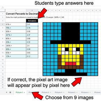President's Day - Convert Percents to Decimals - Google Sheets Pixel Art