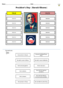 President's Day Cut and Paste (True or False activity)