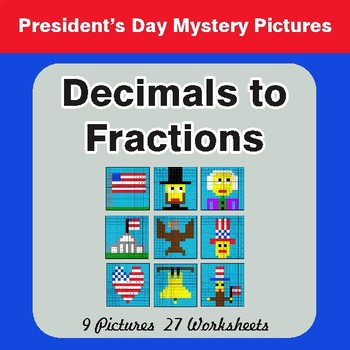 President's Day: Decimals To Fractions - Color-By-Number Math Mystery Pictures