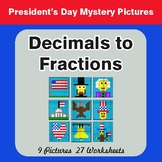 President's Day: Decimals To Fractions - Color-By-Number M