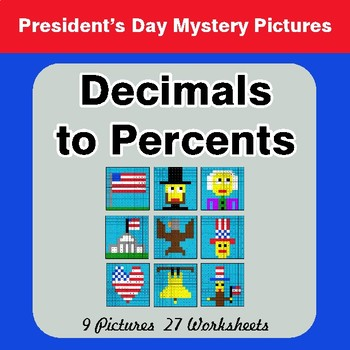 President's Day: Decimals to Percents - Color-By-Number Math Mystery Pictures